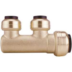 Tectite FSBM2PTC 3/4 in. Brass Push-To-Connect Inlet x 1/2 in. Brass Push-To-Connect Outlets 2-Port Closed Manifold