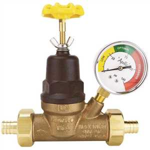 Apollo APXPRV34WG 3/4 in. Bronze Double Union PEX Water Pressure Regulator with Gauge