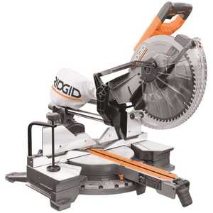 RIDGID R4222 RIDGID 15 Amp Corded 12 in. Dual Bevel Sliding Miter Saw with 70 Miter Capacity and LED Cut Line Indicator