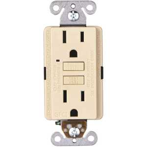 Faith GLS-15A-IV-10 15-Amp 125-Volt GFCI Duplex Outlet, GFI Receptacle with Indicator Light, Wall Plate Included, Ivory - pack of 10