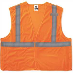 Ergodyne 8215BA GLoWEAR Class 2 2XL/3XL Orange Hi-Vis Type R Econo Breakaway Mesh Vest