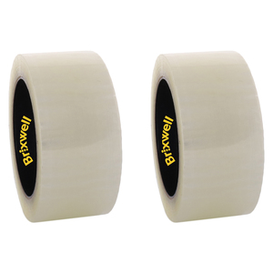 Brixwell DKH100003-XCP2 2 Rolls - Commercial Grade Clear Packing Tape 2 Inch x 110 Yard Made in the USA