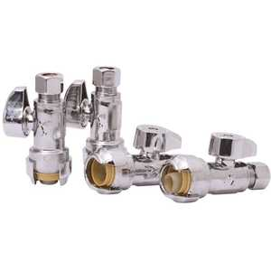 Reliance Worldwide 23037LFJ4 SharkBite 1/2 in. Push-to-Connect x 3/8 in. O.D. Compression Chrome-Plated Brass Quarter-Turn Straight Stop Valve - pack of 4