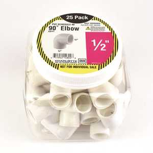 Charlotte Pipe and Foundry Company PVC 02301  0625HD Charlotte Pipe 1/2 in. PVC Elbow SxF - pack of 25