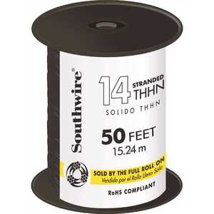 Southwire 22955983 50 ft. 14 Black Stranded CU THHN Wire