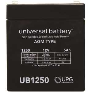 Universal Power Group UB1250 UPG 12-Volt 5 Ah F1 Terminal Sealed Lead Acid (SLA) AGM Rechargeable Battery