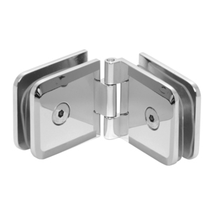 Adjustable Beveled Glass To Glass Mount Clip Satin-Chrome