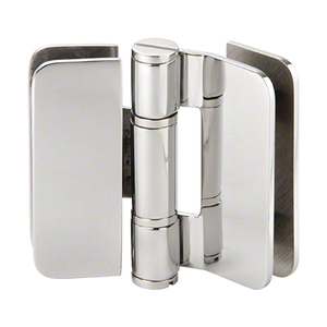 U.S. Horizon Mfg., Inc. H-I180GTGV-PS Imperial Series Glass-to-Glass Outswing or Bi-Fold w/Overlap Hinge 180 Degree Polished Stainless Steel