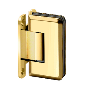 "U.S. Horizon Mfg., Inc. H-MBGTWA-FP-PB Adjustable Majestic Series Glass To Wall Mount Hinge With ""H"" Back Plate Polished Brass"