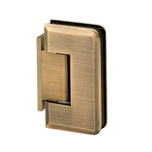 U.S. Horizon Mfg., Inc. H-MBGTWA-OP-AB Adjustable Majestic Series Glass To Wall Mount Hinge With Offset Back Plate Antique Brass