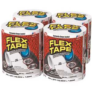Swift Response TFSWHTR0405-CS FLEX SEAL FAMILY OF PRODUCTS Flex Tape White 4 in. x 5 ft. Strong Rubberized Waterproof Tape