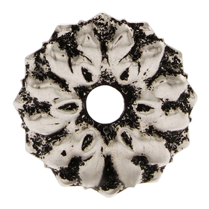 "CRL 8983 Antique Silver 3/4"" Floral Metal Mirror Rosette"