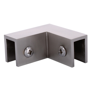 """Brushed Nickel 90 Degree """"Sleeve Over"""" Glass Clamp"""