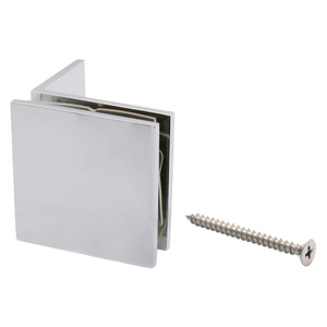 Polished Chrome Fixed Panel Square Clamp With Small Leg