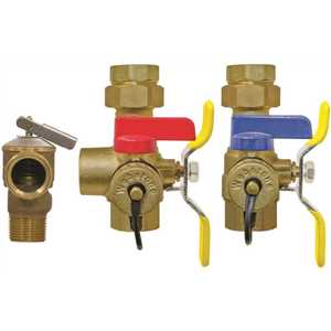Webstone 44443WPR 3/4 in. FIP Union x FIP Full Port Lead Free Hot & Cold Ball Valves with Pressure Relief-Tankless Water Heater Valve Kit