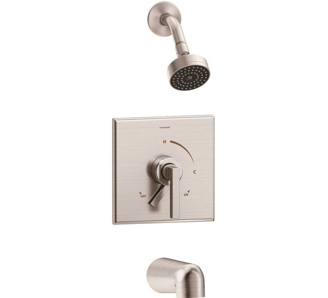 Symmons S 3602 Stn 1 5 Trm Duro Single Handle 1 Spray Tub And Shower Faucet Trim In Satin Nickel 1 5 Gpm Valve Not Included
