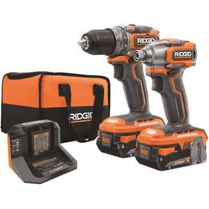 Techtronic Industries Co. R9780 RIDGID 18-Volt Brushless SubCompact Drill Driver and Impact Driver Combo Kit with (2) 2.0 Ah Batteries, Charger and Bag