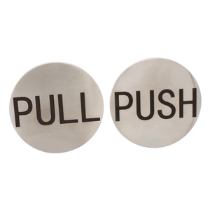"CRL RPP2BS Brushed Stainless 2"" Round Push/Pull Set - Etched Stainless Steel"