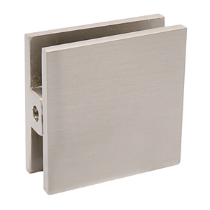 CRL SCU4BN Brushed Nickel Square Style Hole-in-Glass Fixed Panel U-Clamp