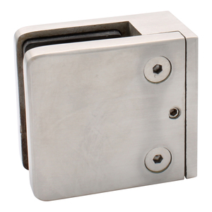 """CRL Z912BS Brushed Stainless Z-Series Square Type Flat Base Stainless Steel Clamp for 1/2"""" Glass"""