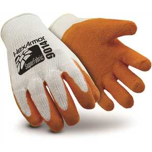 HexArmor 9014-S (7) Small Orange/White Super Fabric Glove with Rubber Palm Coating and Needlestick Resistance Level 5, ANSI Cut Level A9