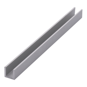 "Satin Anodized 1/4"" Aluminum U-Channel - 144"" Stock Length"