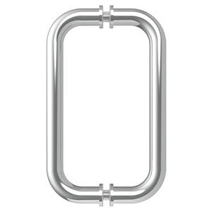"Polished Chrome 8"" BM Series Tubular Back-to-Back Pull Handle"