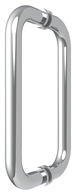 "CRL BM8X8CH Polished Chrome 8"" BM Series Tubular Back-to-Back Pull Handle"
