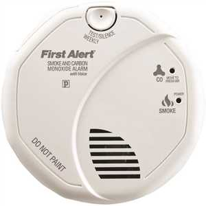 BRK Brands 1043567 Smoke and Carbon Monoxide Hardwired Combination Alarm with Battery Backup and Voice, Contractor