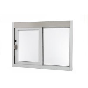 "Quikserv SC-9046-CL Self-Closing Side Sliding Transaction Window Without Low Profile 36"" W x 36"" H Left Hand Slide Clear Anodized Aluminum"