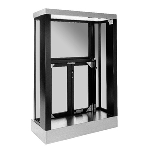Quikserv PW-9526-BX Panoramic Three-Sided View Manual Bi-Fold Transaction Window PW4-16 Dark Bronze