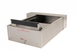 "Quikserv QST-9144 Drive-Thru Transaction Drawer With 15 Inches Exterior Edge With Speaker 20-3/4"" W x 6-1/4"" H Stainless Steel"