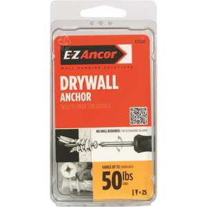 E-Z Ancor 25200 Twist-N-Lock 50 lbs. Drywall Anchors with Screws - pack of 25