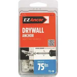 E-Z Ancor 25210 Twist-N-Lock #8 x 1-1/4 in. White Nylon Phillips Flat-Head 75 Medium Duty Drywall Anchors with Screws - pack of 20