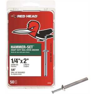 Red Head 35305 1/4 in. x 2 in. Hammer-Set Nail Drive Concrete Anchors