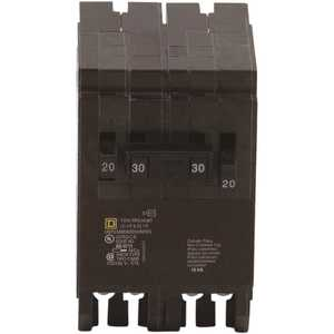 Square D HOMT2020230CP Homeline 2-20 Amp Single-Pole 1-30 Amp 2-Pole Quad Tandem Circuit Breaker