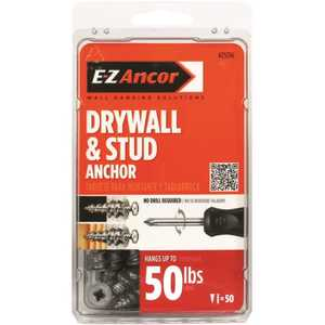 E-Z Ancor 25316 Stud Solver #7 x 1-1/4 in. Zinc-Plated Phillips Flat-Head Drywall Anchors - pack of 50
