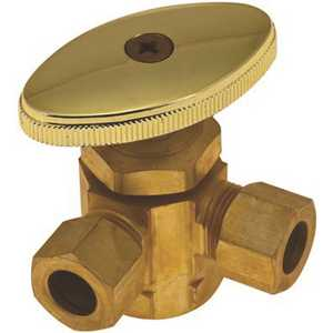 Durapro LD5 (BR) LF 3-Way Dual Angle Stop Valve 1/2 in. IPS x 3/8 in. OD x 3/8 in. OD Rough Brass Lead-Free