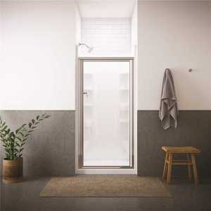 STERLING 1500D-36S Vista Pivot II 36 in. x 65-1/2 in. Framed Pivot Shower Door in Silver with Handle