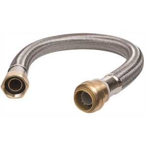 SharkBite u3088flex12lf 3/4 in. Push-to-Connect x 3/4 in. FIP x 12 in. Braided Stainless Steel Water Heater Connector