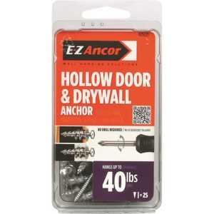 E-Z Ancor 25225 1 in. Hollow Door and Drywall Anchors - pack of 25