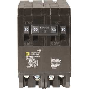 Square D HOMT2020250CP Homeline 2-20 Amp Single-Pole 1-50 Amp 2-Pole Quad Tandem Circuit Breaker