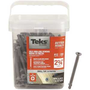 Tek 21386 #12 x 2-3/4 in. Plymetal Zinc-Plated Steel Flat-Head Phillips Self-Tapping Screws with Wings - pack of 200