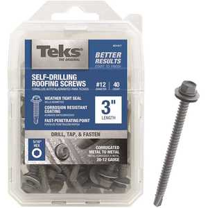 Tek 21417 #12 x 3 in. External Hex-Washer-Head Roofing Screw with Washer - pack of 40