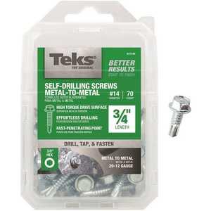 Tek 21349 #14 x 3/4 in. External Hex Washer Head Self-Drilling Screw - pack of 70