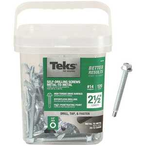 Tek 21358 #14 x 2-1/2 in. External Hex-Washer Head Drill-Point Screw - pack of 120