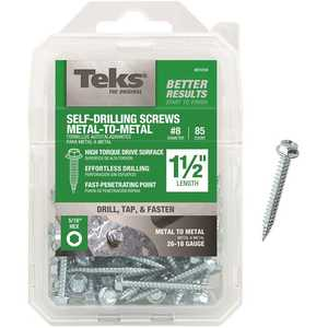 Tek 21318 #8-15 x 1-1/2 in. External Hex Washer Head Sharp Point Screw - pack of 85