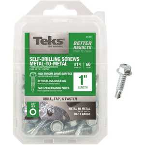 Tek 21351 #1/4-14 x 1 in. External Hex Washer Head Drill Point Screw - pack of 60