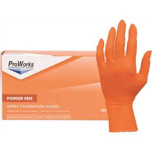 ProWorks GL-N105ORFL Powder-Free Exam-Grade Nitrile Gloves with Beaded Cuff, Orange, Large - pack of 100