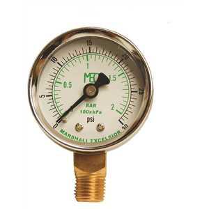 MEC MEJ501 Dial Dry Pressure Gauge 0-30 psi, Brass Bottom Mount 1/4 in. MNPT, 2 in. Steel Case